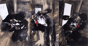 Shamefaced - a monotype triptych by Daniel Embree