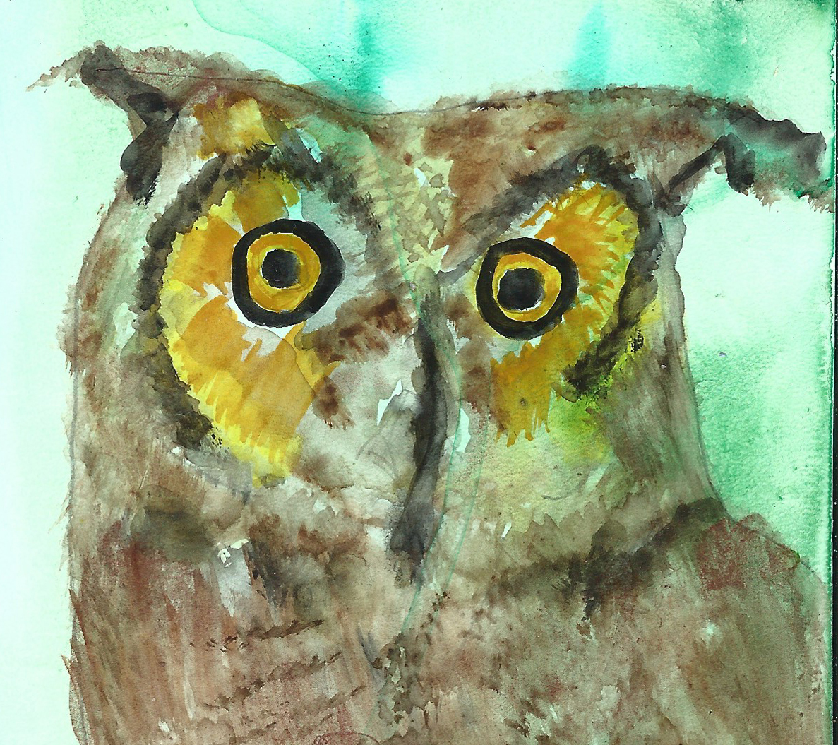 Owl One in Hyperspace Postcard, Watercolor by Susan Gainen