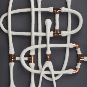 Necklaces made from Merino wool & copper piping by Laura Mabbutt