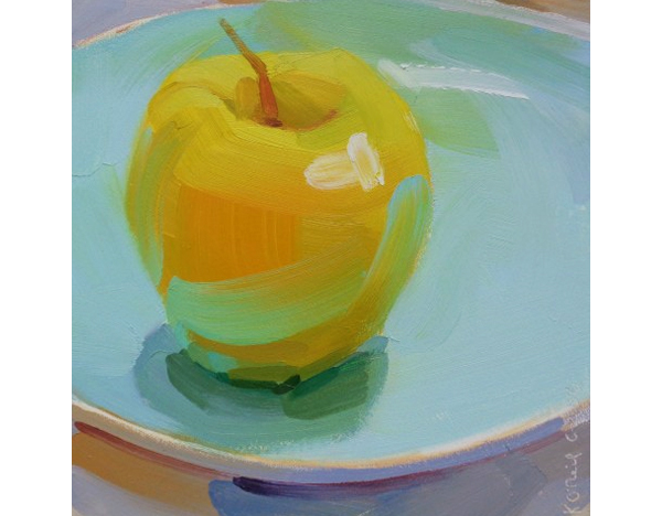 Yellow Apple with Blue by Painter Karen O'Neil