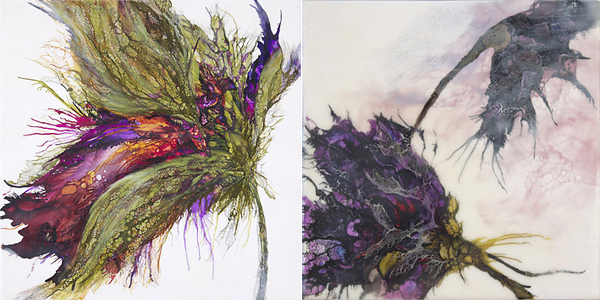 """Galaxy"" (left) and ""Swoon"" (right) by Alicia Tormey, encaustic mixed media"