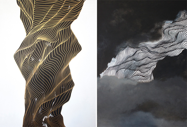 (left to right) Intercession and Cinder & Smoke (oil and acrylic on wood) by Tracie Cheng