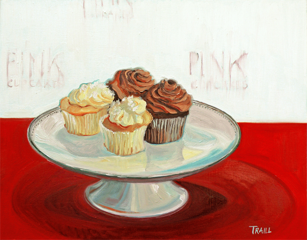 Ms. Cupcakes on the Red Carpet Oil on Panel by Jennie Traill Schaeffer