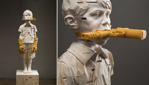 """Stones in my Pocket"" and detail (wood sculpture) by Gehard Demetz"