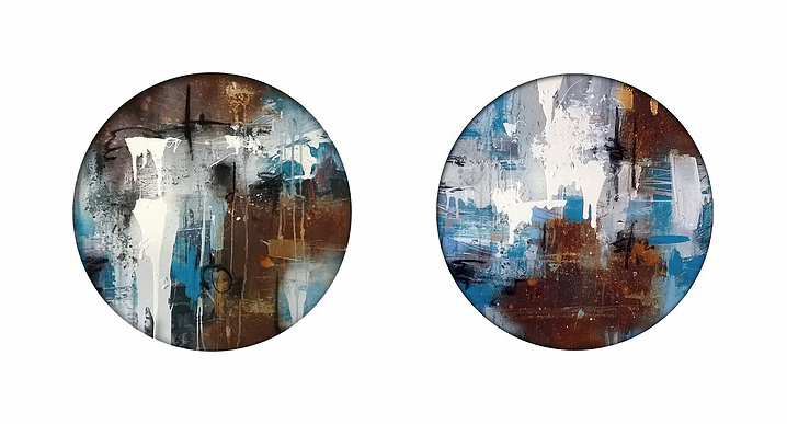 """Container 1"" & ""Container 2"" (oil, acrylic, rust & charcoal on canvas) by painter Anthony Garratt"