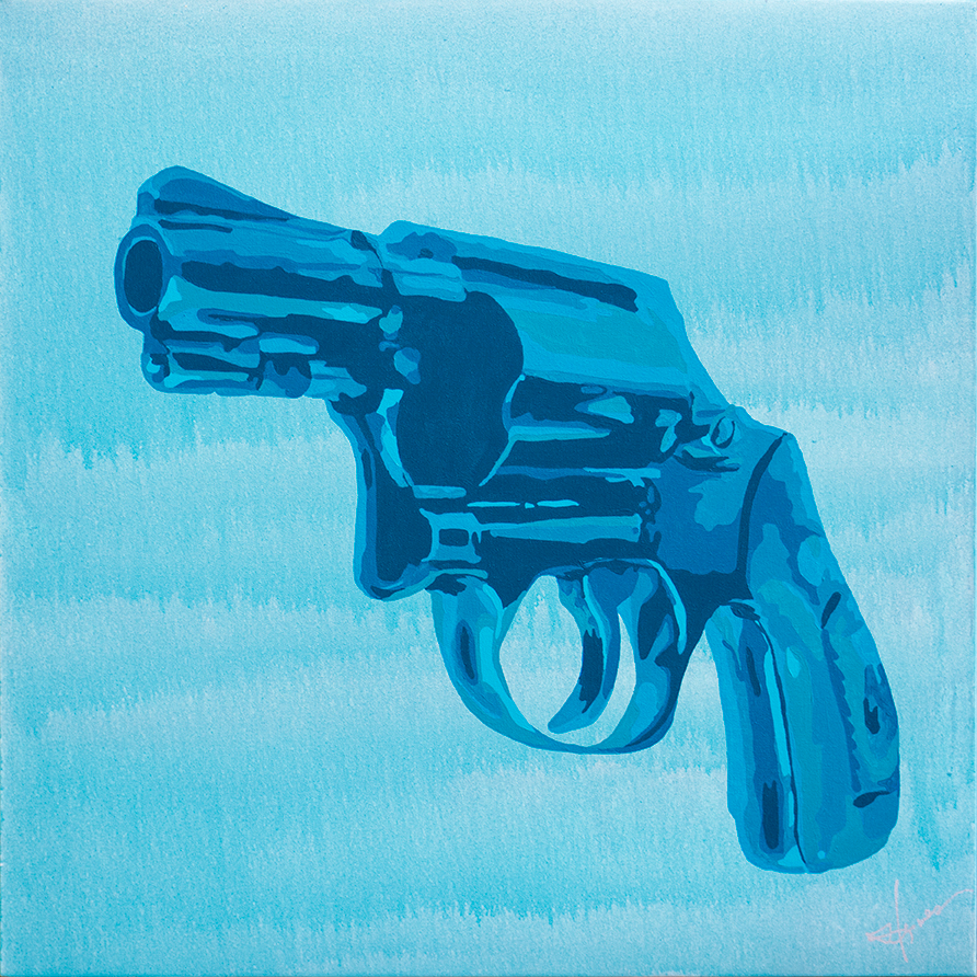 """Gun Won"" (acrylic on canvas, 36""x36"") by Anne Hermes"