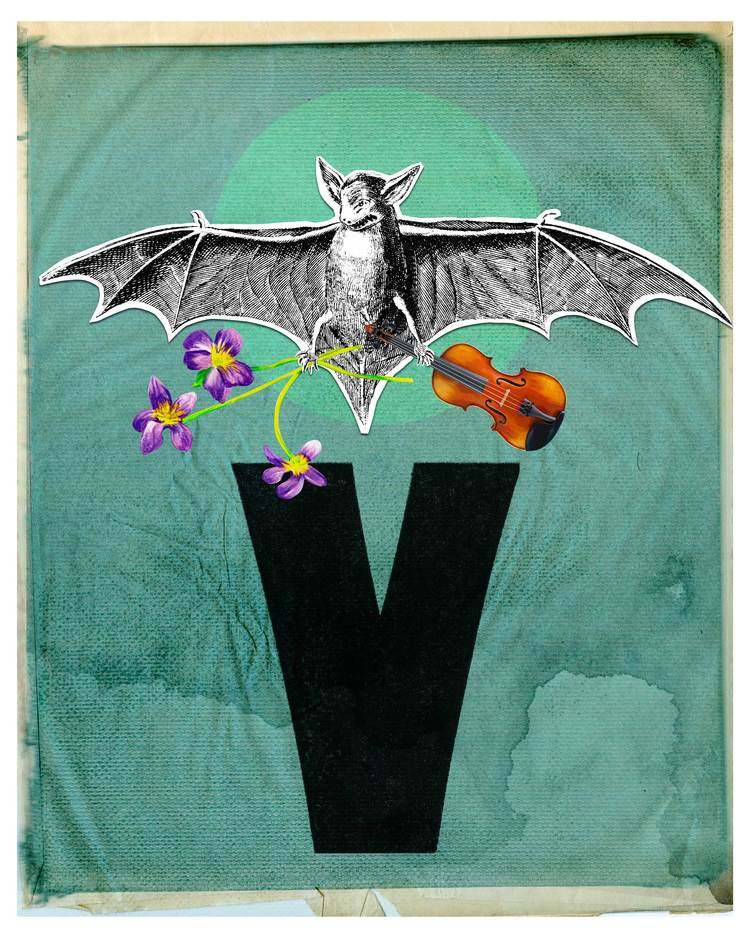 """V is for Vampire Bat"" (digital collage) by Leslie Haines"
