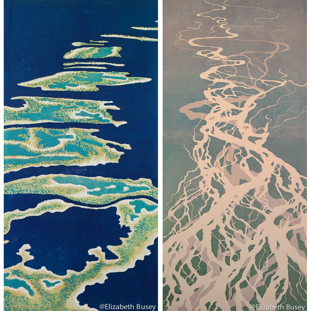 "(l-r) ""Out of Many , One"" & ""Unforseen"" (linocuts) by Elizabeth Busey"