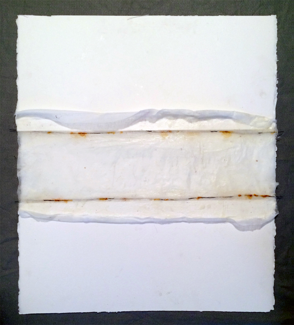 Elemental #1 (encaustic, gauze, wire, rust, shellac on paper, dim var) by Megan Klim